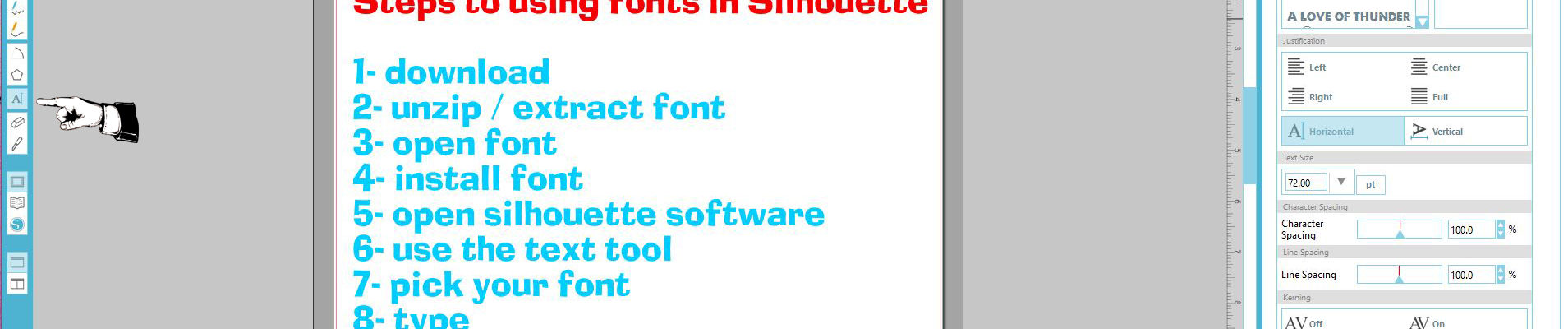 Steps to using fonts in Silhouette Studio